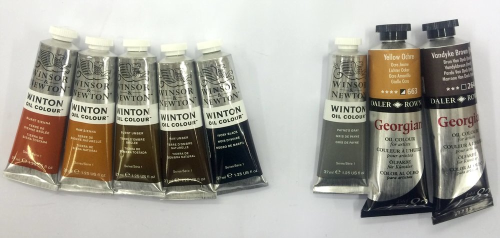 Winsor and Newton: Burnt Sienna, Raw Sienna, Burnt Umber, Raw Umber, Ivory Black | Extra: Payne's Grey, Yellow Ochre (Transparent), Vandyke Brown