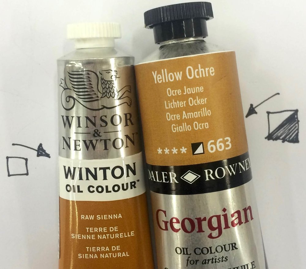 On each tube of quality paint you will find a little square, this square indicates the level of transparency of the paint. This square will either be black - opaque, white - transparent or, black and white - semi transparent.