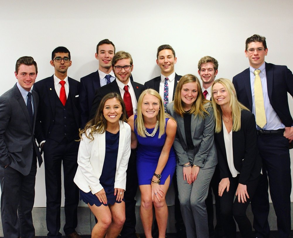 From left to right, back row: Austin Worrell, Ryaan Ibtisam, Paul McCreary, Nick Froehlich, Bradley Davis, Lucas Elfreich, Thatcher Creber, front row: Haley Olvera, Amy Berg (moderator), Maggie Callaghan, Hannah McCarthy