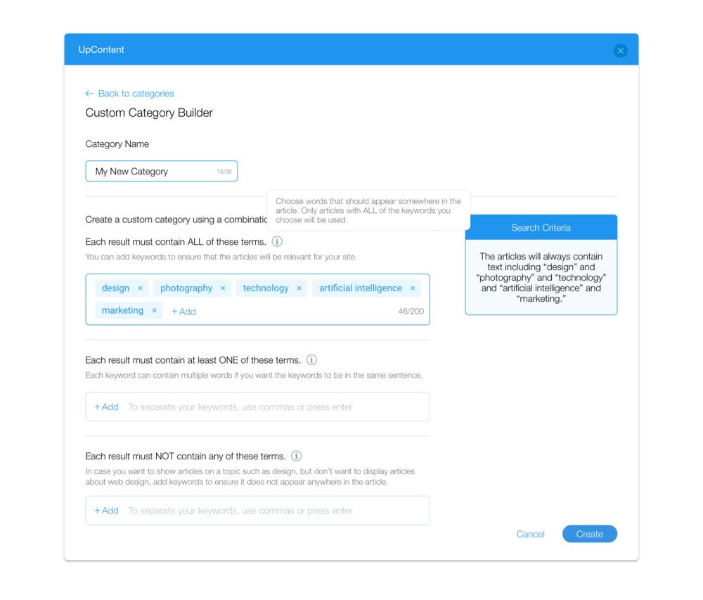 3. Custom Category Builder