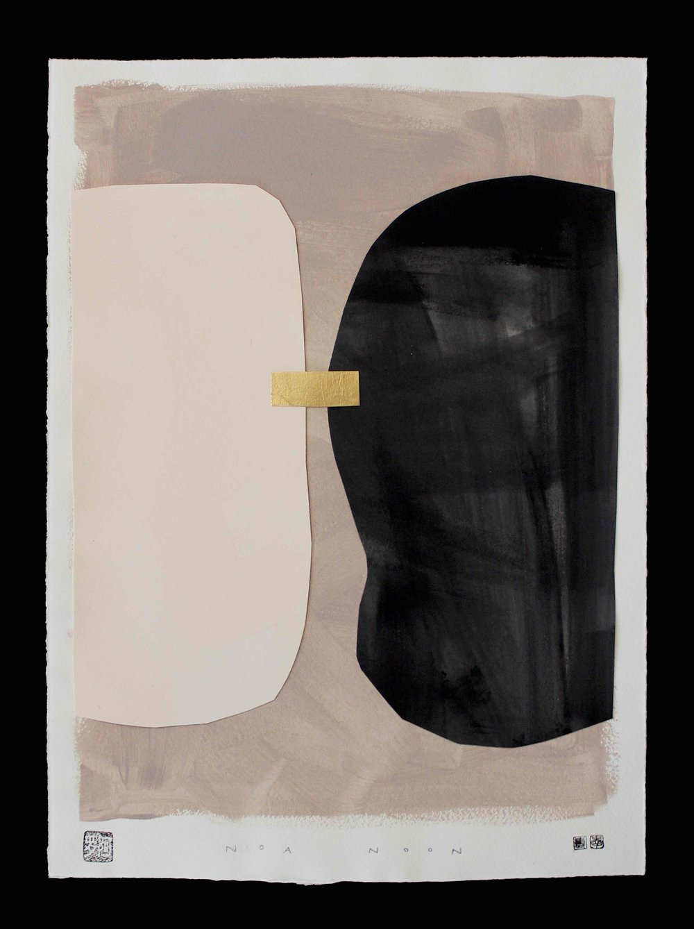 COLLAGE NO. 4 - 40 X 50 CM COLLAGE ON HANDMADE PAPER WITH GOLD LEAF AND HIMALAYA PINK AND BLACK PIGMENT PAINT.