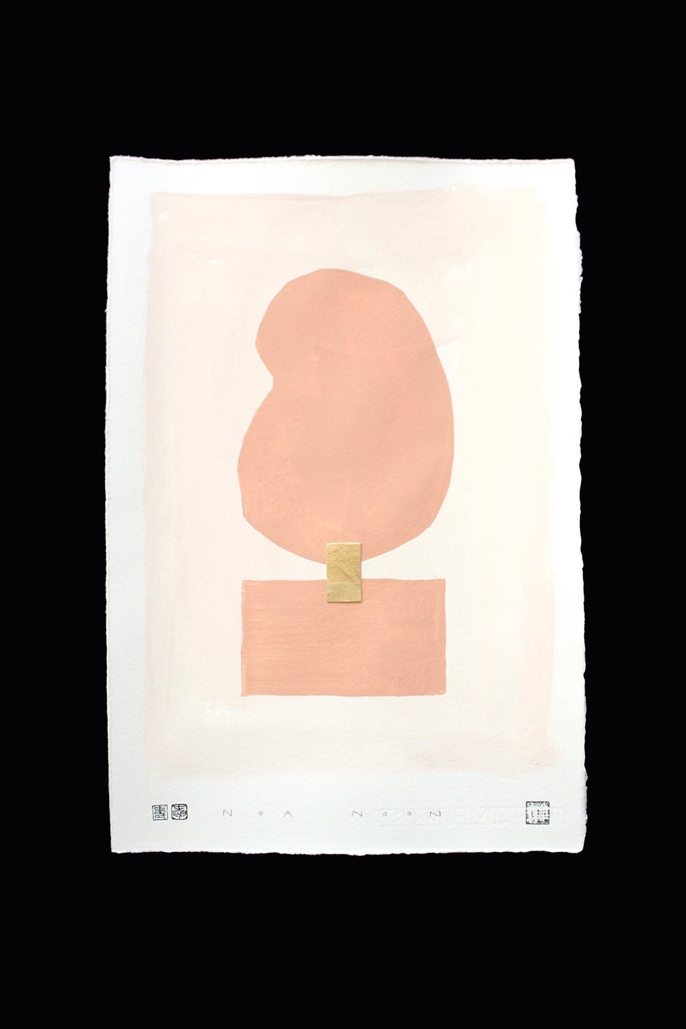 PAINTED PRINT - PAINTED PRINT ON HANDMADE PAPER WITH GOLD LEAF DETAIL AND PAINTED WITH PIGMENT PAINT.  SMALL SIZE 27 X 39 CM