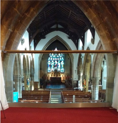 The view from the ringing chamber towards the alter and the East window