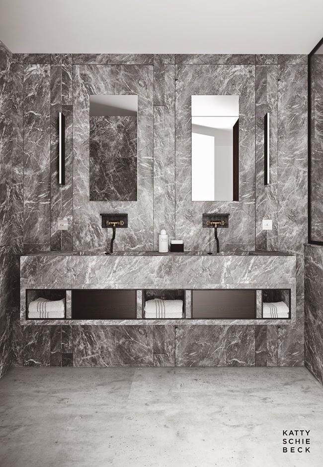 Kalkstensgolv, marmor-klädda väggar samt upphöjt marmor golv i dusch. Kommod med två handfat i marmor. Passeig de Concepció, Barcelona av Katty Schiebeck.