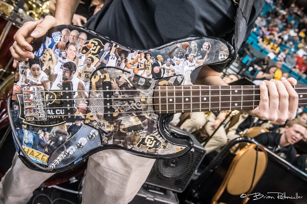 A guitar of a member of the Colorado Band during the 2016 Pac-12 Tournament. Photo by Brian Rothmuller