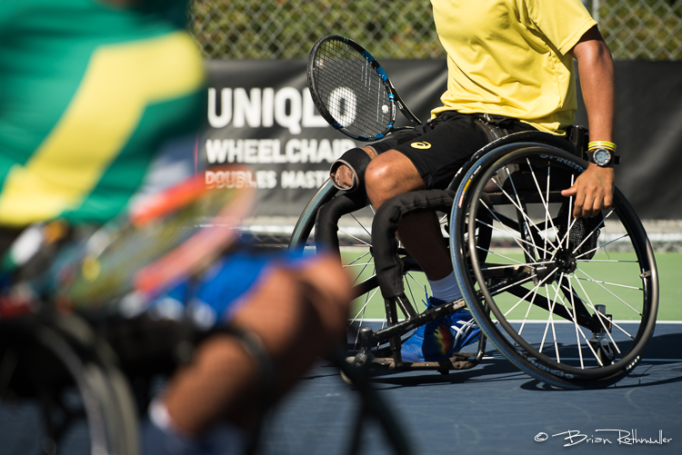 11/3/16 --- Wheelchair Tennis --- Rafael Medeiros (left) and Daniel Rodrigues (right) compete at the 2016 UNIQLO Wheelchair Doubles Masters tournament at Marguerite Tennis Pavilion in Mission Viejo, CA.  Photo by Brian Rothmuller/Sports Shooter Academy