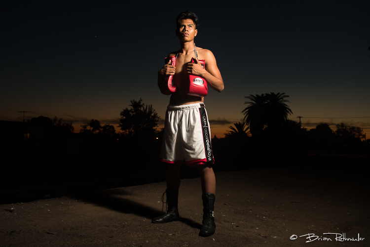 11/3/16 --- Boxing --- George Rico poses for a portrait outside the La Habra Boxing Club in La Habra, CA.  Photo by Brian Rothmuller/Sports Shooter Academy