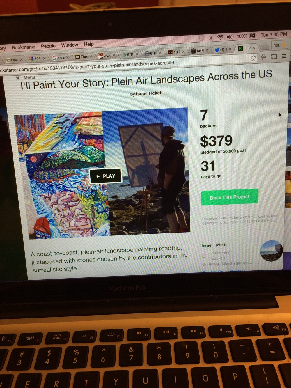 My Kickstarter Campaign: Day two! Already raised $379!! Let's keep it going!