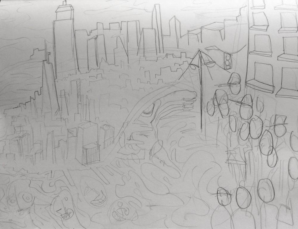 Mock-up sketch of the 'New York' painting, all subject to change due to donor's input and contribution. Click the image to link to the Kickstarter Project!