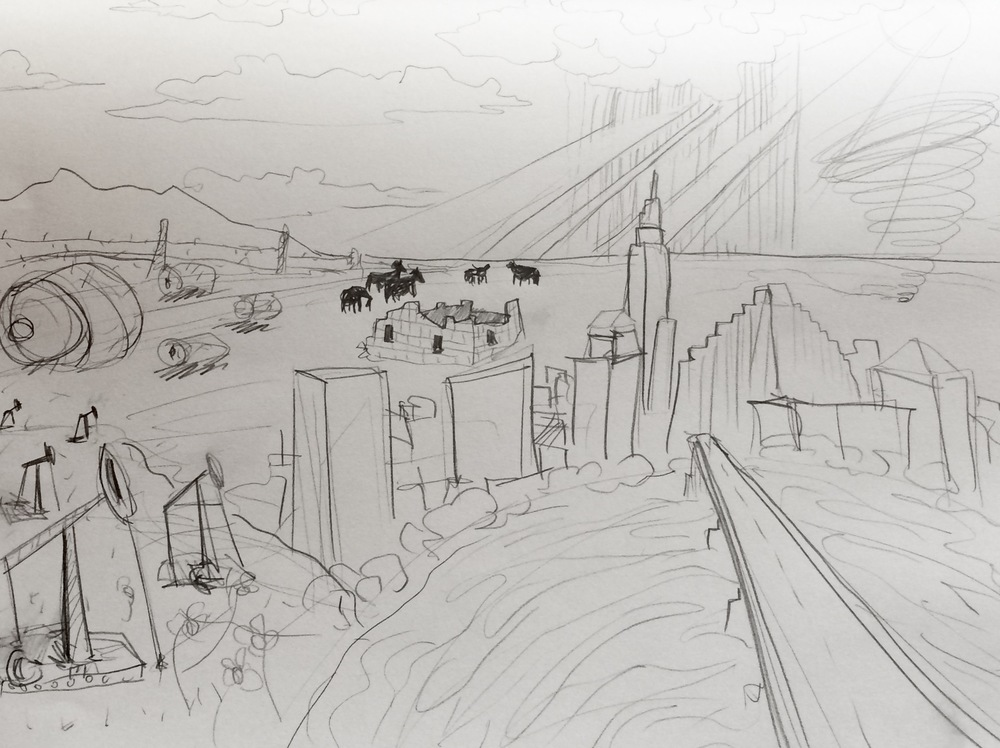 Mock-up sketch of the 'Austin, Texas' painting, all subject to change due to donor's input and contribution. Click the image to link to the Kickstarter Project!