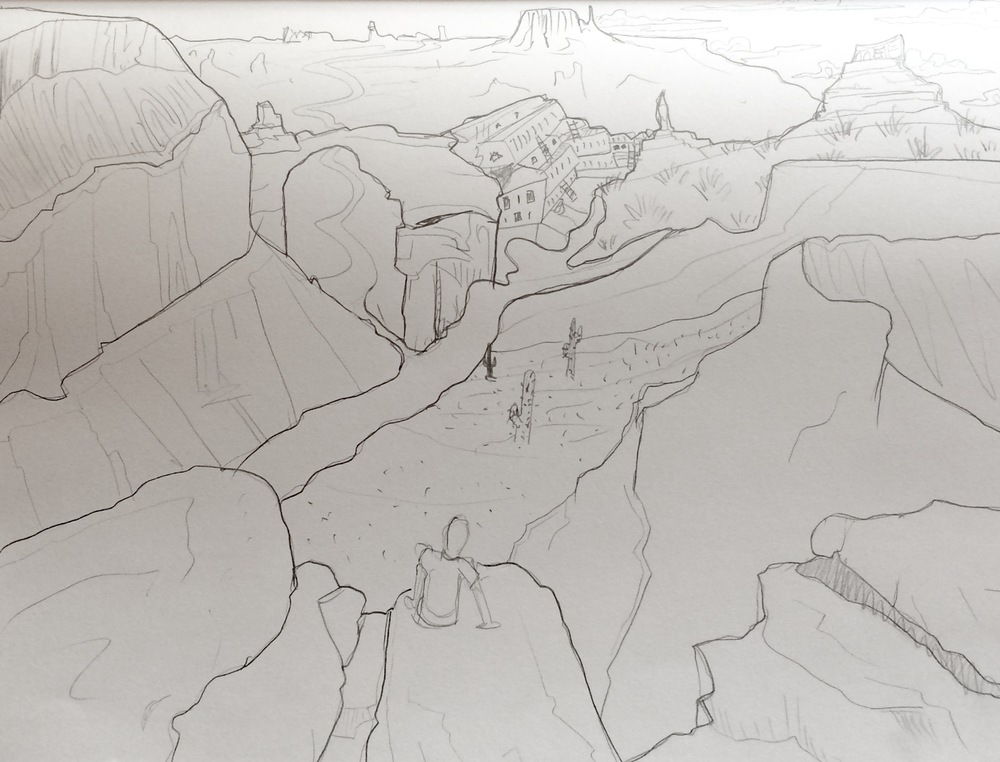 Mock-up sketch of the 'The Grand Canyon' painting, all subject to change due to donor's input and contribution. Click the image to link to the Kickstarter Project!