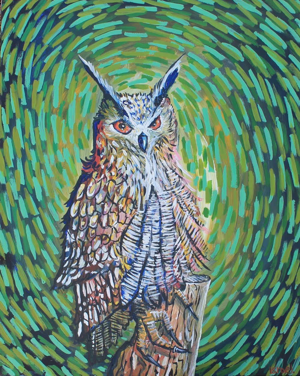 """Eurasian Eagle-Owl."" 20 x 30 inches. Acrylic paint. For sale $400."