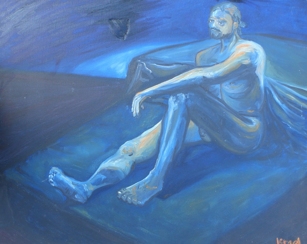 """Blue Man."" 20 x 30 inches. Oil paint. For Sale $150 (Damaged, recently repaired this week)."