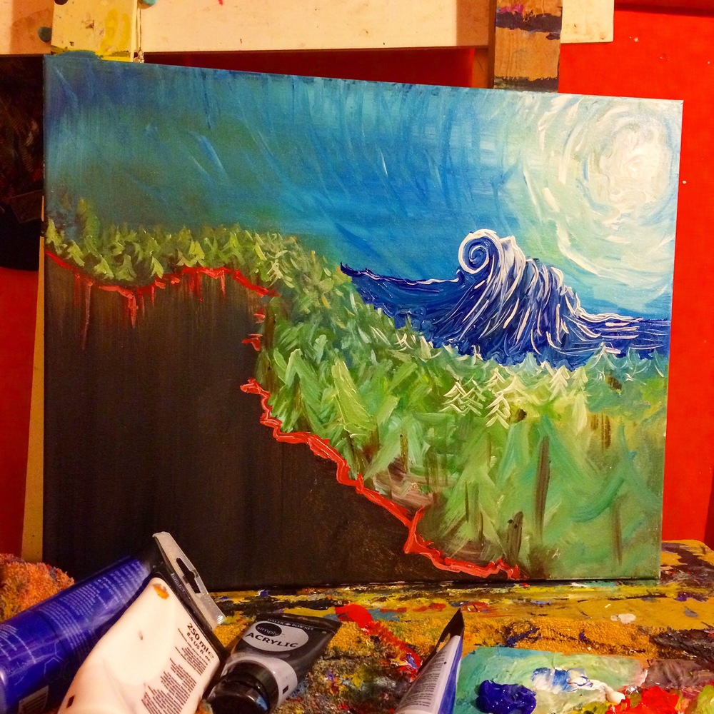 A new dreamscape painting in progress.
