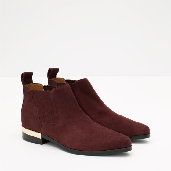 Zara Flat Leather Ankle Boots