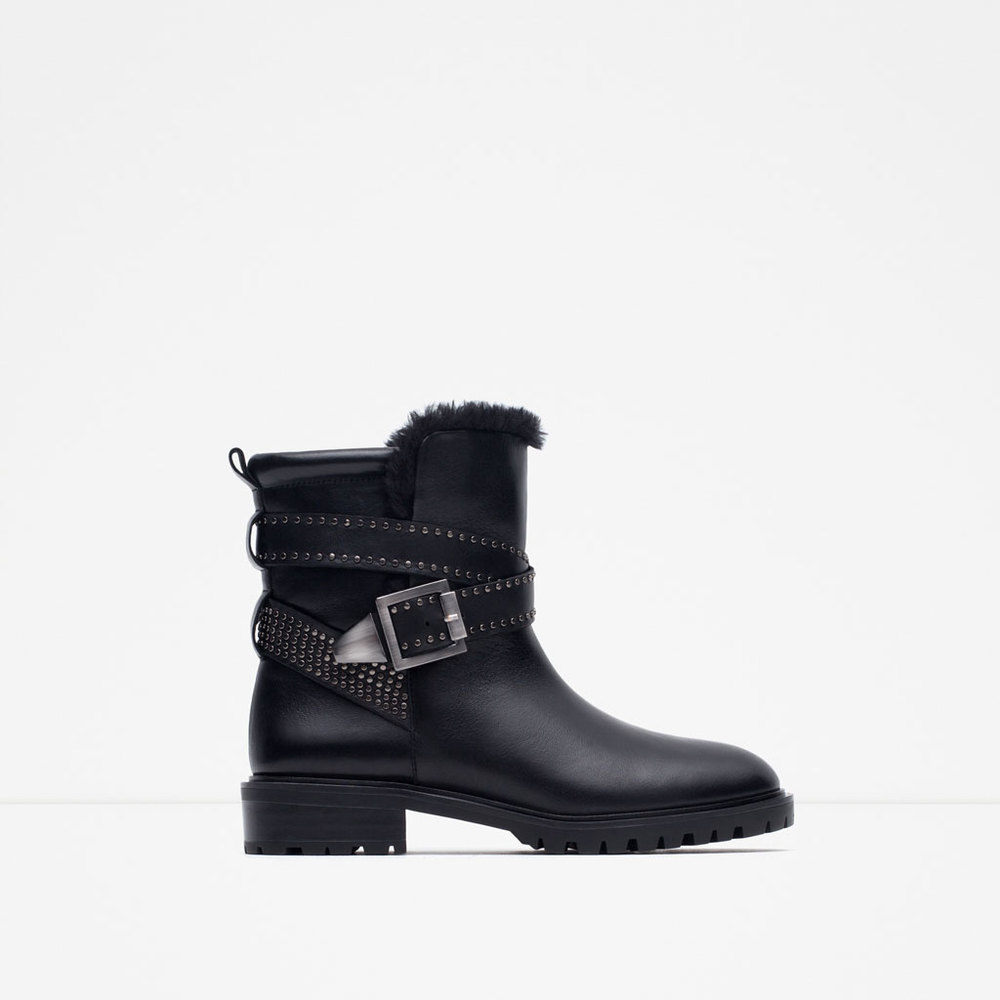 Zara Leather Biker Ankle Boots