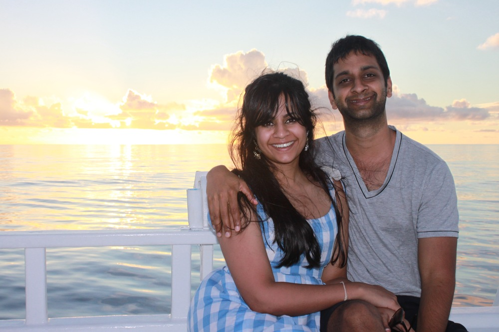 of course the lovey-dovey honeymoon pic on a sunset cruise