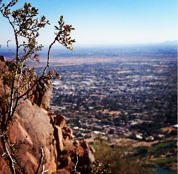 sprawling city for miles from Camelback Mountain