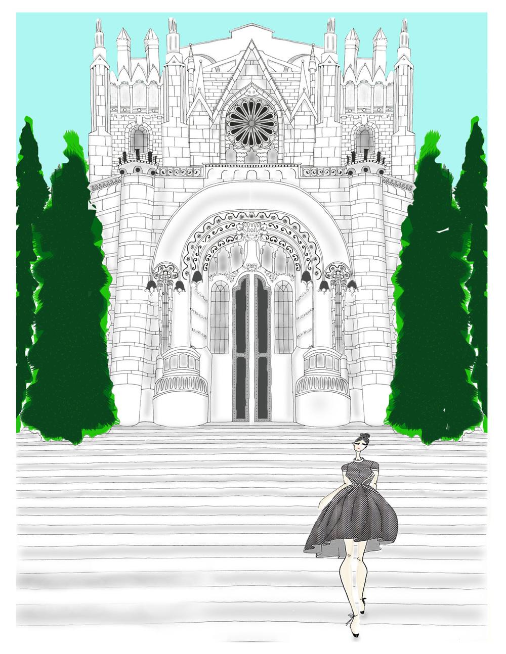 rendering of the Temple de Sagrat Cor on Mount Tibidabo in Barcelona
