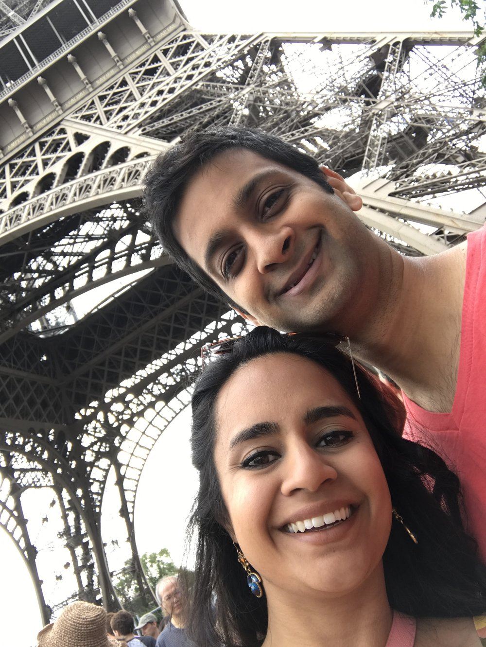 selfie under the Eiffel Tower
