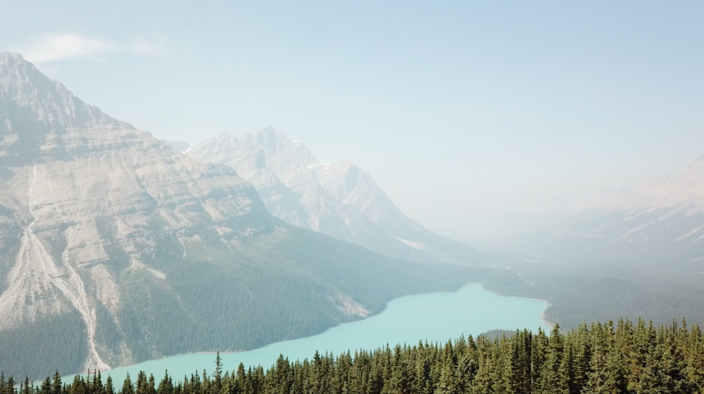 Drone footage of Peyto Lake (Banff National Park, Alberta, Canada) from the Bow Summit.
