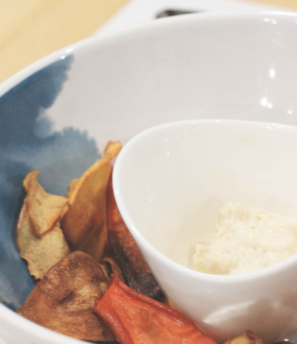 baked sweet potato, carrot, parsnip, and apple chips served with creamy roasted fennel dip.