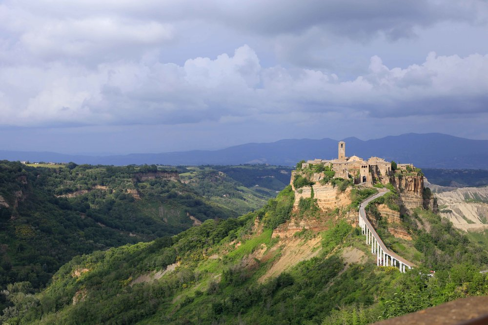 The stunning Civita de Bagnoregio, a 2500+ year old city that sits atop volcanic rock in Tuscany!