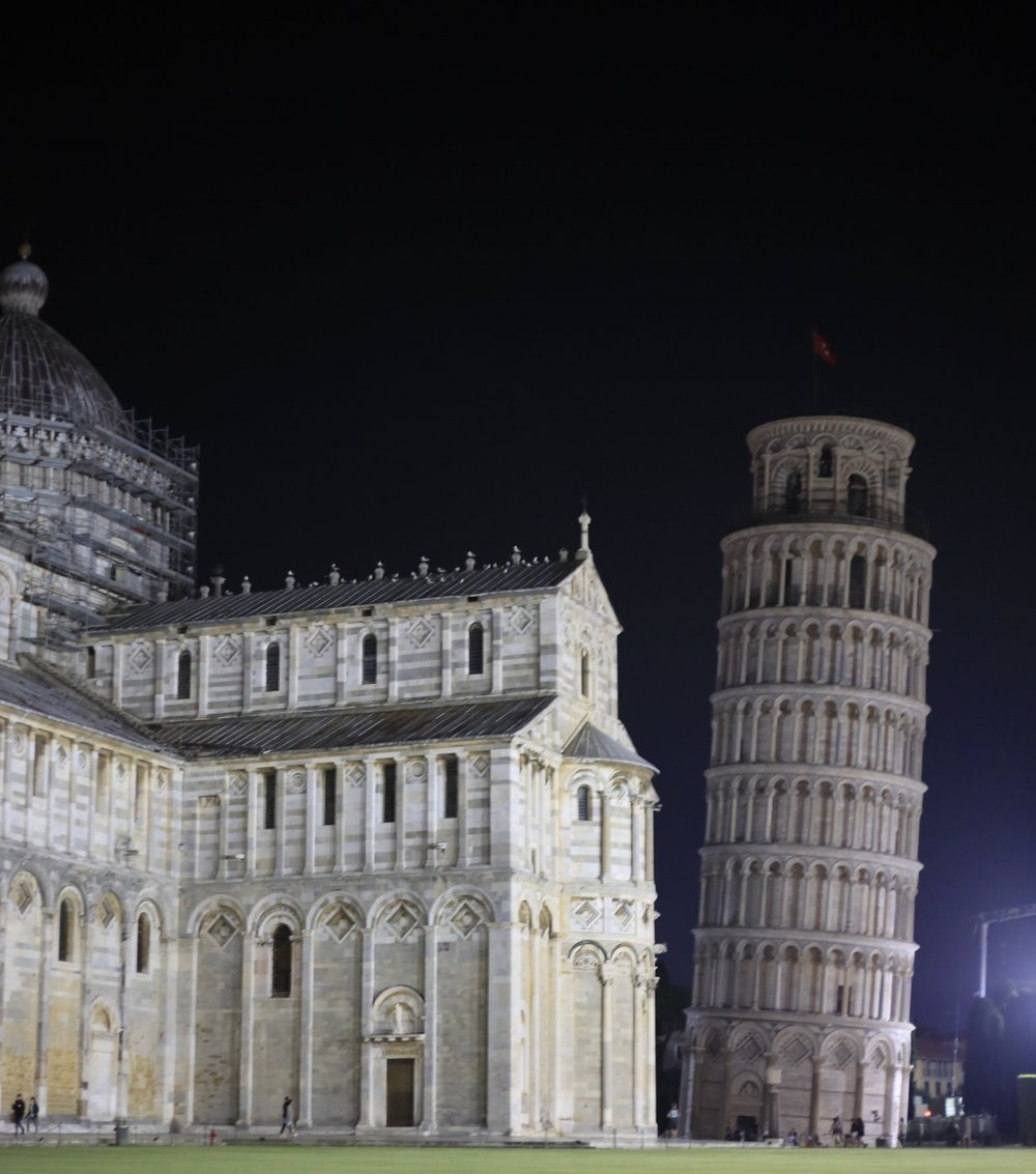The Leaning Tower at night!