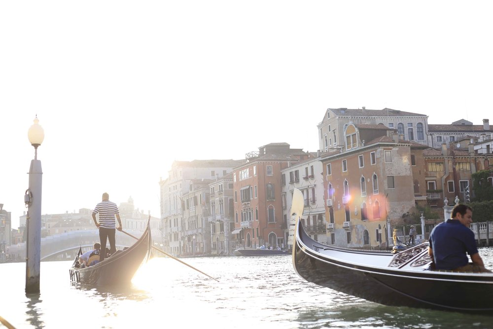 Gondola ride in Venice during golden hour!