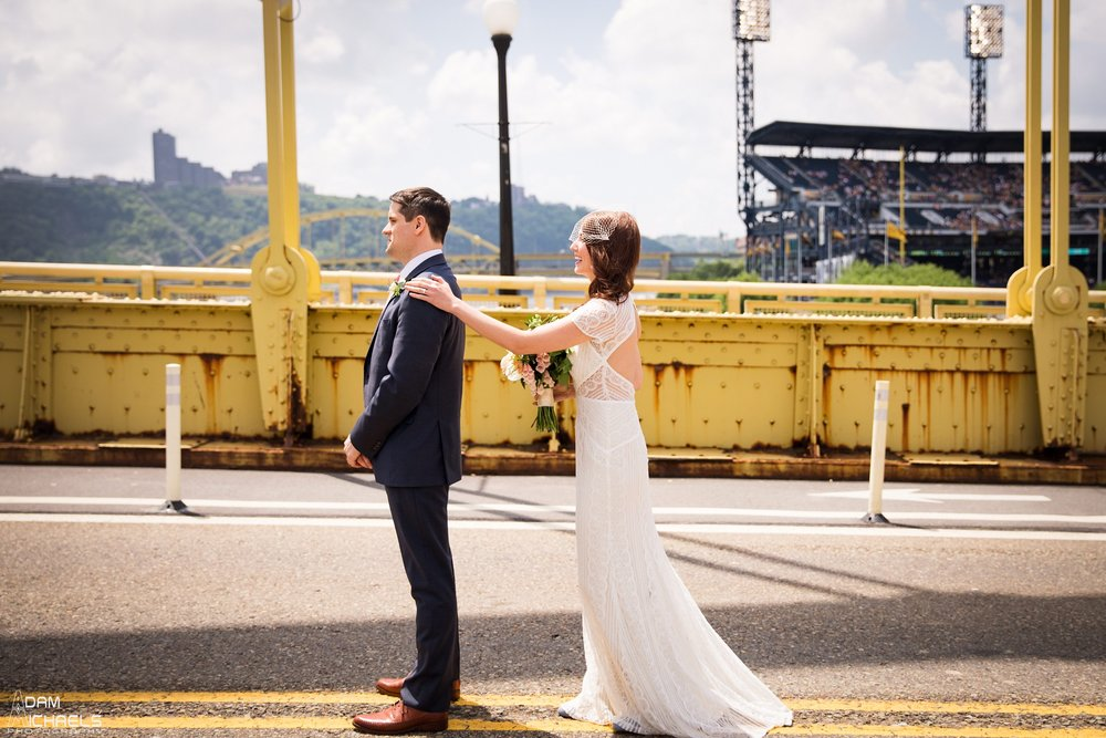 Pittsburgh Clemente Bridge First Look Wedding.jpg