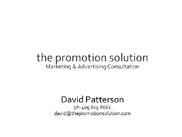 David Patterson - The Promotion Solution