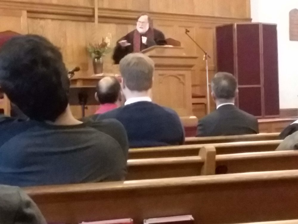 The sermon was given by Rev. Jon Hevelone of First Baptist Church of Arlington