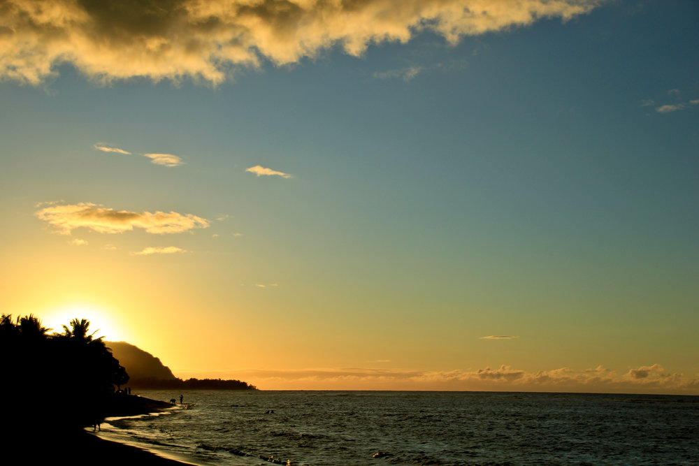 Sunset over Kaena Point, Oahu.
