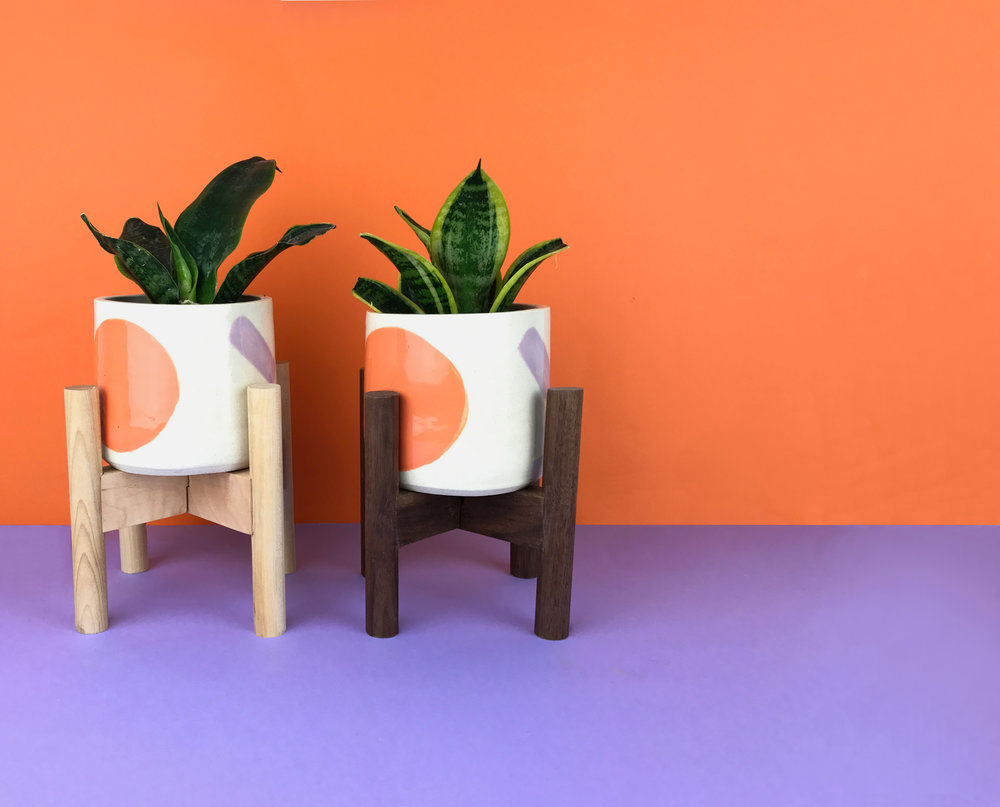 Dovetails & Darts x O-M Ceramics  - A limited edition collaboration of mini mid-century inspired plant stands + pots.