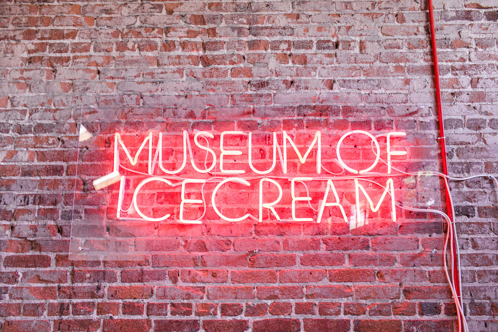 Neon sign at the museum of ice cream in downtown los angeles.