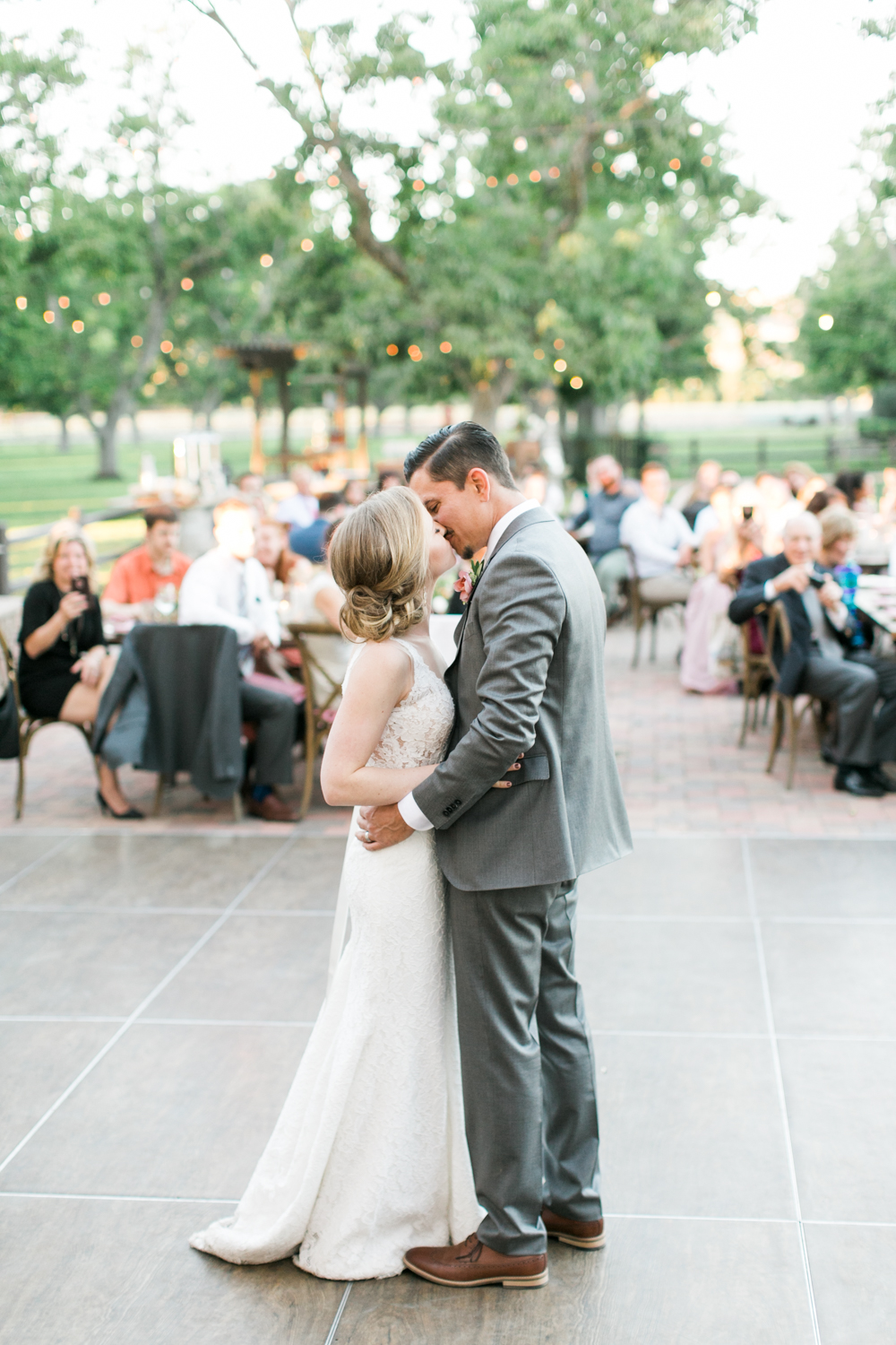 Bride and Groom have first dance at Walnut Grove wedding in Moorpark, Ca.
