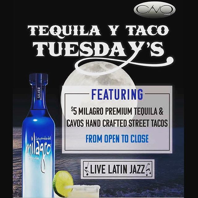 IT'S TUESDAY! $2 chicken tacos and $5 Milagro drinks all day and night long!