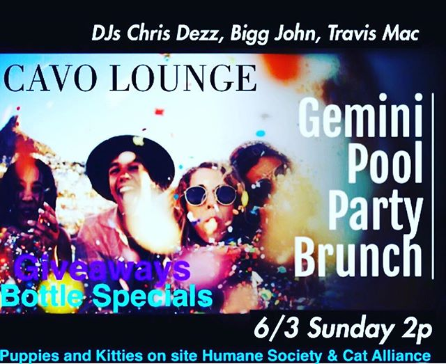 It's a pool party!! Giveaways, bottle specials, Veuve girls, happy hour, stoli girls, beer pong, and so much more! Donations go to the naples humane society and naples cat alliance. Bring your suits and dip your toes in some fun!! #cavolounge #naplesfl #happyhour #brunch #brunchnaples #humanesocietynaples #naplescatalliance #poolparty #gemini #djs