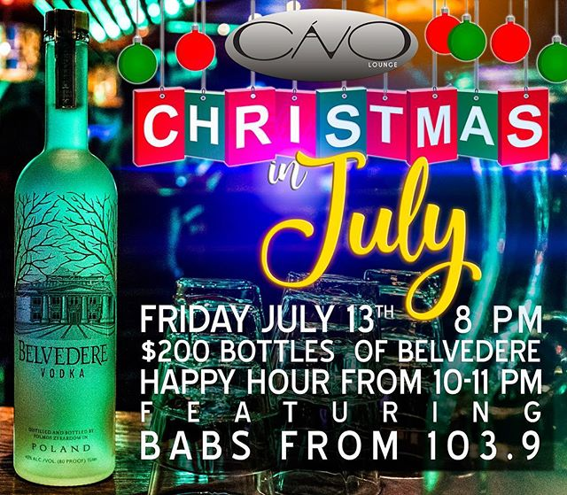 🎄CHRISTMAS IN JULY PARTY🏖 🎵Babs from B-103.9 will be here broadcasting LIVE! 🎅🏻Come dressed in your Sexy Santa outfit or Ugly Sweater 🛳We will be giving away 3 sets of Key West Express tickets! 🎟Everyone can enter but if you're dressed in costume you will get an EXTRA chance to win! 🍸Belvedere girls will also be walking around with shots! 🎉If you're not here, you're missing out!