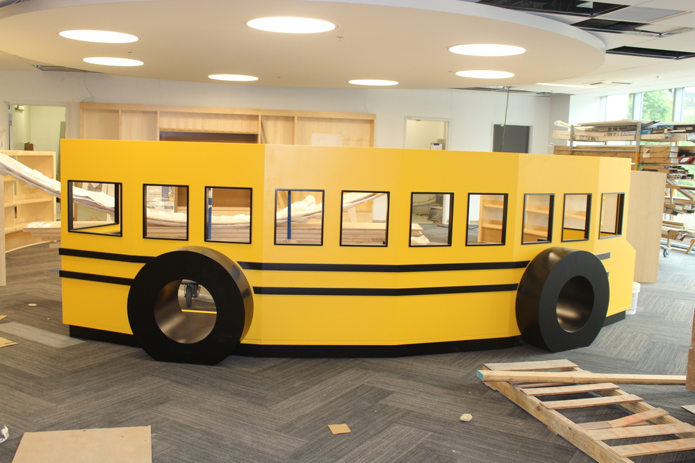 This bus is going to be such a key piece in the new kids area.  It's going to create the divide between the kids story time area, bookshelves, and more to allow those going into Kindergarten a place to learn and play so that they go into the school year feeling ready and confident.  The library is focusing on this because not all kids in Central Ohio attend preschool and it is so important that children and families have the resources out there to prepare their children for that first year of school.