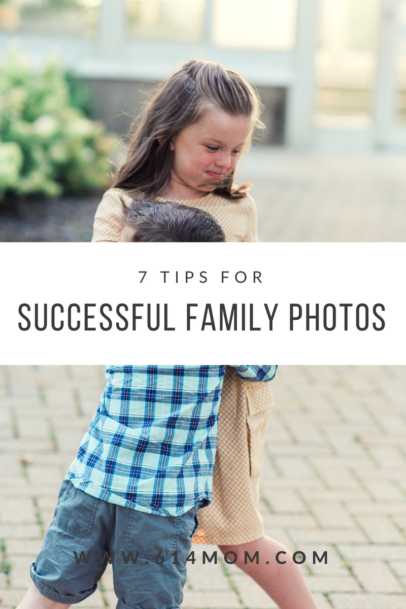 7 Tips For Successful Family Photos - Even though family photos are very important to me, it doesn't mean they aren't stressful sometimes. I am after all getting three kids, 1 husband, and myself together for pictures I want to hang all over my home. The stress for perfection is sometimes overwhelming.  Over the years I've found a lot of tricks to help us take the stress away so we can enjoy the experience. I'm happy to pass along my tips to you so you can have stress free family photos.