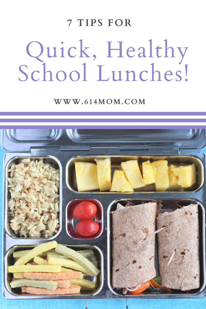 7 Tips For Quick, Healthy Lunches - It doesn't have to be time consuming or stressful or even the same old boring sandwich every day.  Here's my tips for making it as enjoyable (or at least as painless!) as possible!