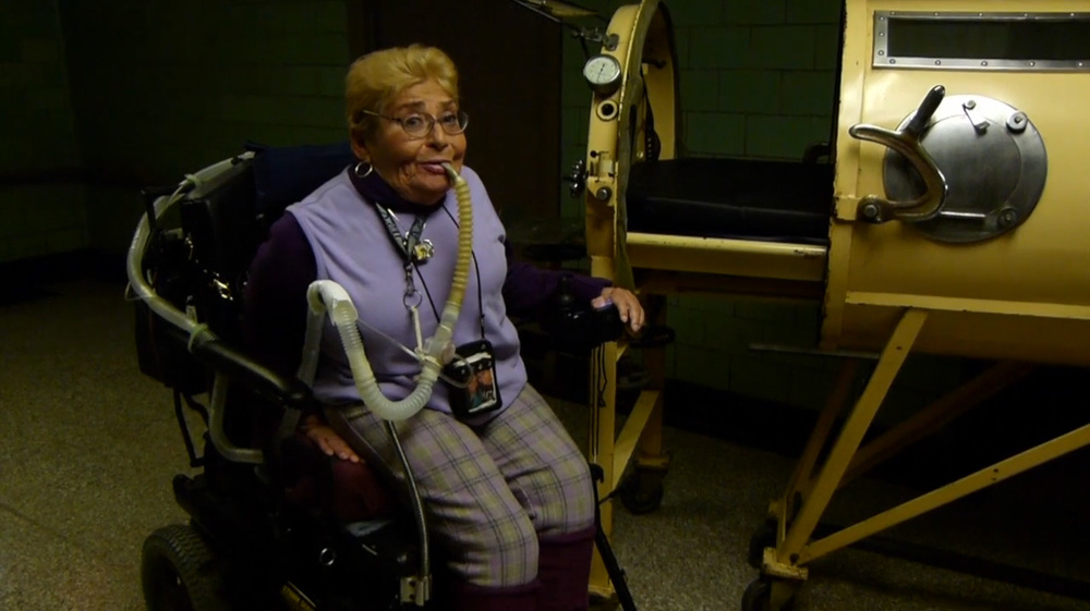 Roosevelt Island resident Nancy Brown, pictured in 2012, was one of many patients who were kept alive at Goldwater Hospital by Iron Lung respirators.
