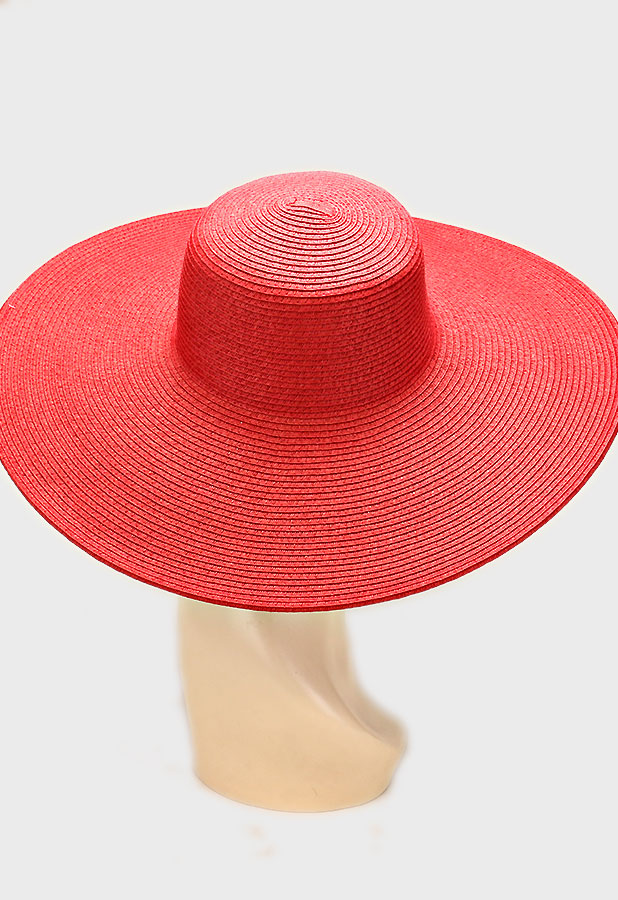 d4d05cd2 RED WIDE BRIM FLOPPY STRAW HAT — THE CLOSET EXPERIENCE