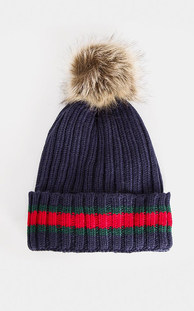 8f600e28 POM POM STRIPED KNIT FAUX FUR HAT WITH FAUX FUR LINING(NAVY BLUE) — THE CLOSET  EXPERIENCE
