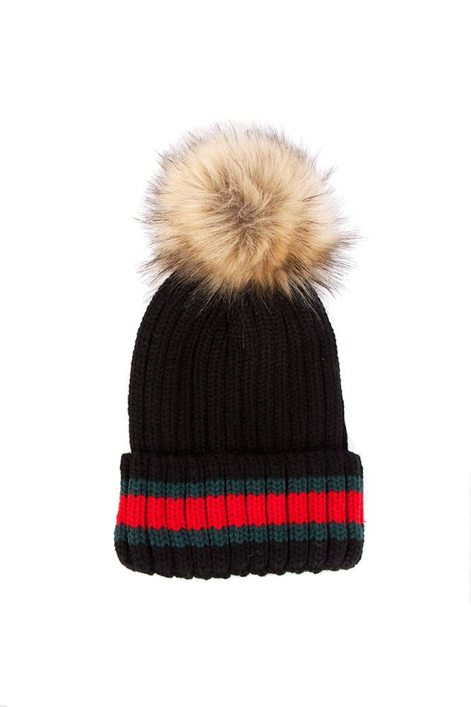 cd1c1125999 POM POM STRIPED KNIT FAUX FUR HAT WITH FAUX FUR LINING(BLACK) — THE CLOSET  EXPERIENCE