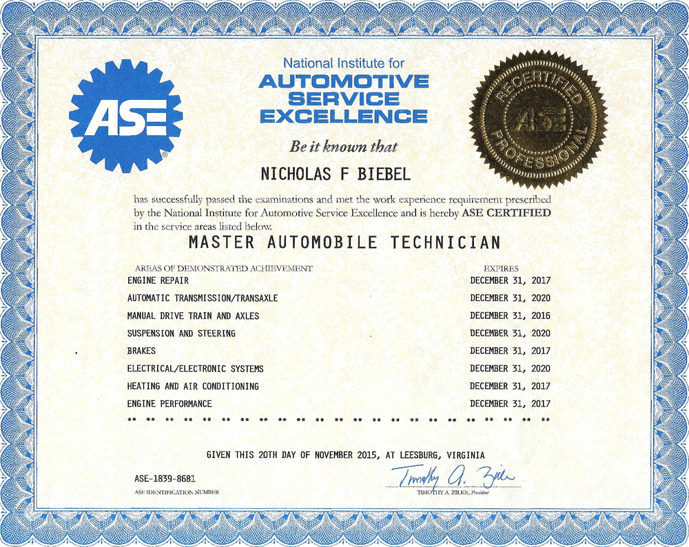 Blog a nick in time llc i took my final ase test and now have all eight current making me an ase certified master technician some people may not realize the significance of ase xflitez Images
