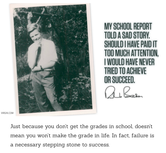 "This is what Richard Branson posted today regarding his school struggles. Can we learn from such experiences? How can we improve schools? Create a ""Perfect School?"""