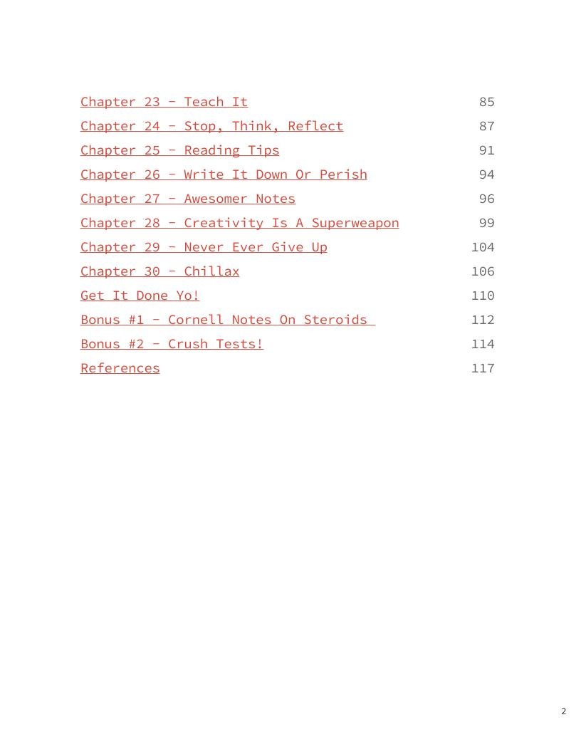 Crush School Table Of Contents 2
