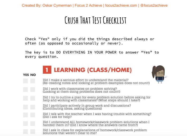 Crush That Test Checklist